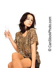 Beautiful woman enjoying champagne