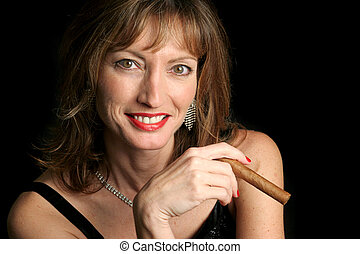 Beautiful Woman Enjoying Cigar