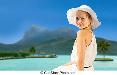beautiful woman enjoying summer bora bora beach