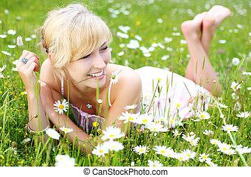 Beautiful woman enjoying the summer