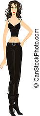 Beautiful woman. Eps 10 - Beautiful brunette woman in black....