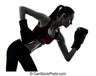 beautiful woman exercising boxe