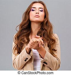 Beautiful woman face close up portrait studio