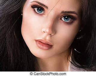 Beautiful woman face close up studio on white.