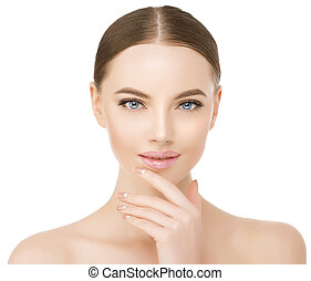 Beautiful woman face close up studio on white. Beauty spa model female with clean fresh skin closeup, with perfect skin. Youth fresh skin care concept. Portrait of girl looking at camera, smiling. Cosmetology, manicure nails on hands