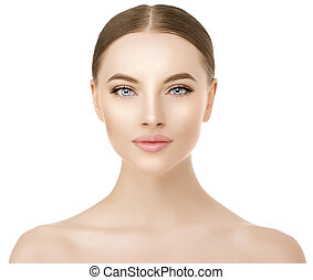 Beautiful woman face close up studio on white. Beauty spa model female with clean fresh skin closeup, with perfect skin. Youth fresh skin care concept. Portrait of girl looking at camera, smiling. Cosmetology.