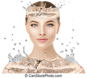 Beautiful woman face close up studio with water splash. Beauty spa model female with clean fresh skin closeup, with perfect skin. Youth fresh skin care concept. Portrait of girl looking at camera, smiling. Cosmetology.