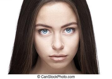 Beautiful woman face closeup
