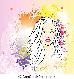beautiful woman face colorful ink paint splash, young sketch girl