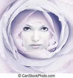 Beautiful woman face flower.