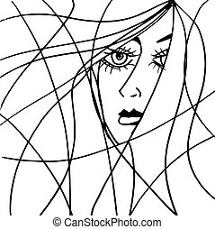 Beautiful woman face illustration