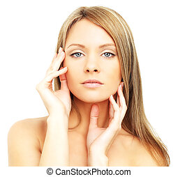 Beautiful woman, face isolated - spa skin care
