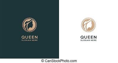 beautiful woman face logo design. fancy icon for beauty spa, salon, and feminine symbol.
