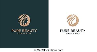 beautiful woman face logo design