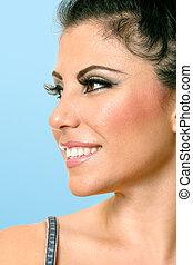 Beautiful woman face looking sideways
