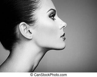Beautiful woman face. Perfect makeup. Beauty fashion. ...
