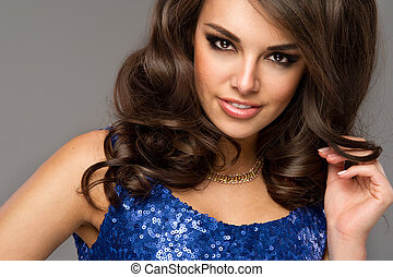 Beautiful woman face. Perfect toothy smile. Caucasian young ...