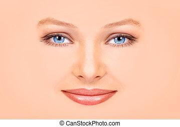 Beautiful woman face - Beautiful young woman face. Close up....