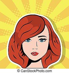 beautiful woman face pop art comic