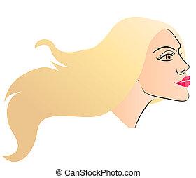 Beautiful woman face. Side view