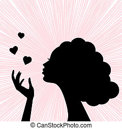beautiful woman face silhouette with heart kiss