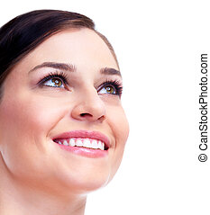 Beautiful woman face. Smile.