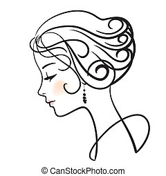 beautiful woman face vector illustration