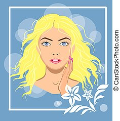 Beautiful woman face with a hand, isolated