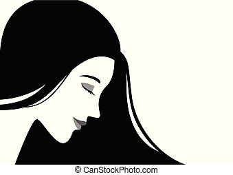 Beautiful woman face with black hair