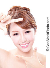 Beautiful Woman face with health skin and teeth