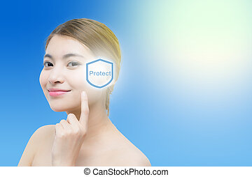 Beautiful woman face with sunshine, concept for skin care and sun block, beauty concept.