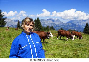 beautiful woman farmer