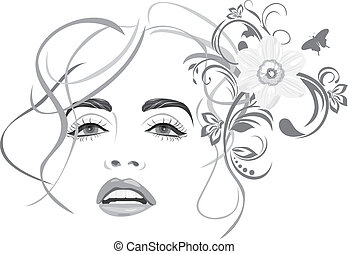 Portrait of beautiful woman. Fashion hairstyle. Vector illustration