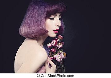 Beautiful Woman Fashion Model. Bob Haircut. Purple Color Hairstyle. Makeup
