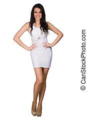 Glamour girl in white dress on white