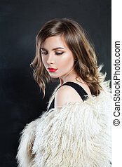 Beautiful Woman Fashion Model  in Luxury Fur Coat