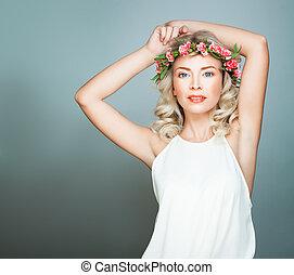 Beautiful Woman Fashion Model in White Dress