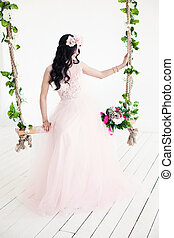 Beautiful Woman Fashion Model wearing Tulle Dress