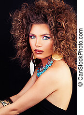Beautiful Woman Fashion Model with Curly Hair, Makeup and ...