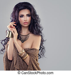 Beautiful Woman Fashion Model with Dark Hair