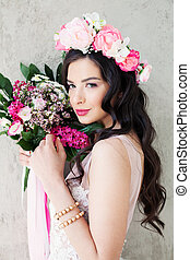 Beautiful Woman Fashion Model with Flowers