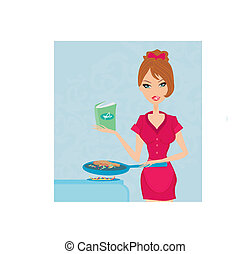 Beautiful woman frying with cooking book in the kitchen