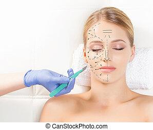 Beautiful woman getting face lifting operation. Drawing ...