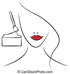 Beautiful woman girl smears face cream, puts on a cosmetic mask in a spa beauty salon isolated on a white background.Vector illustration