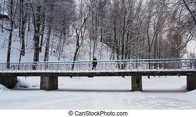 Beautiful woman goes on a snow-covered bridge. Flight over...