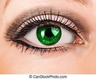 Beautiful woman green eye with long lashes