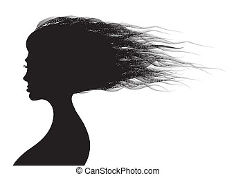 Beautiful woman hairs in silhouette illustration