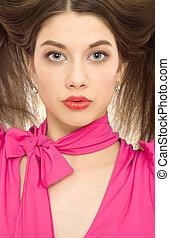 beautiful woman hairstyle closeup portrait