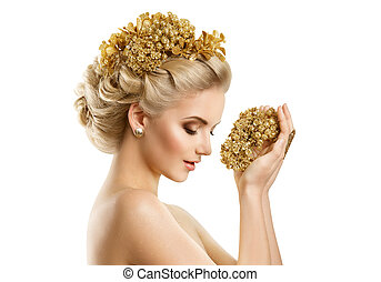 Beautiful Woman Hairstyle Gold Crown, Fashion Girl Holding Golden Jewelry Perfume on White