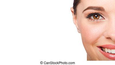 beautiful woman half face